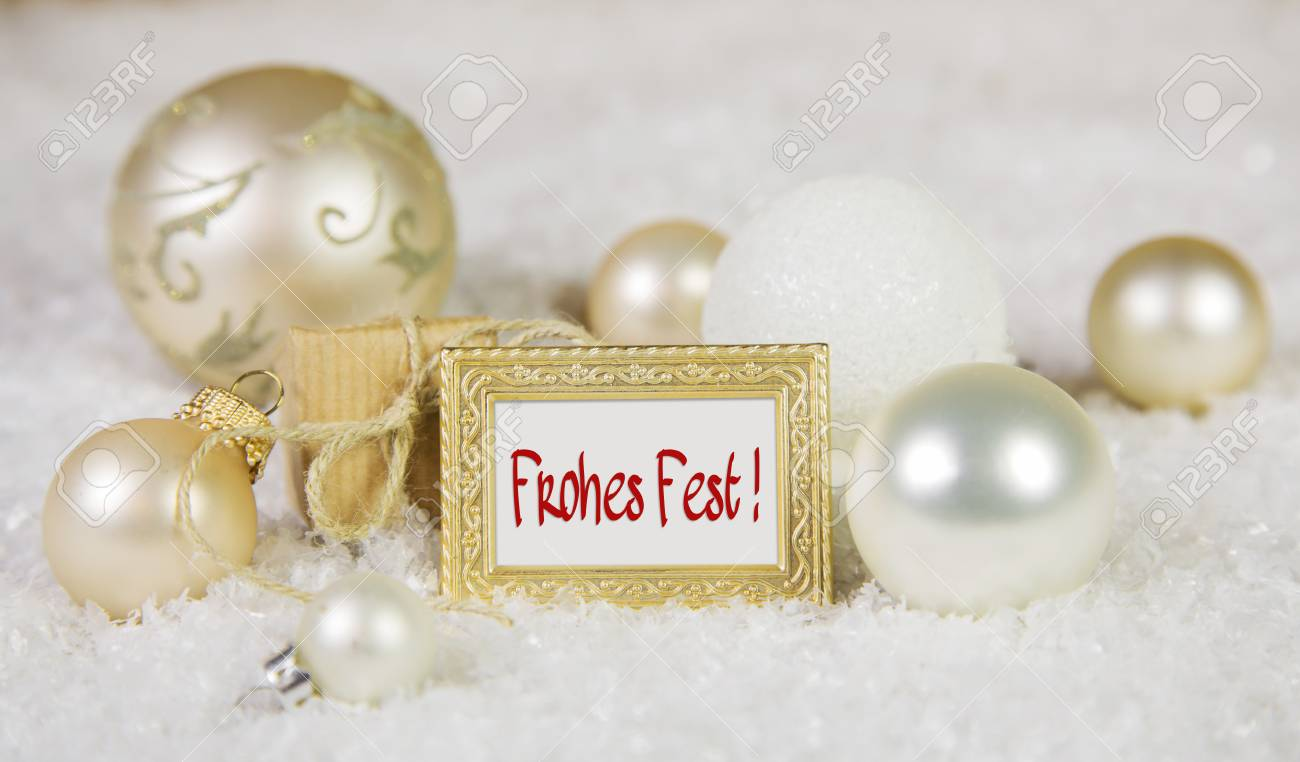 Merry Christmas Greeting Card With German Text And White Golden