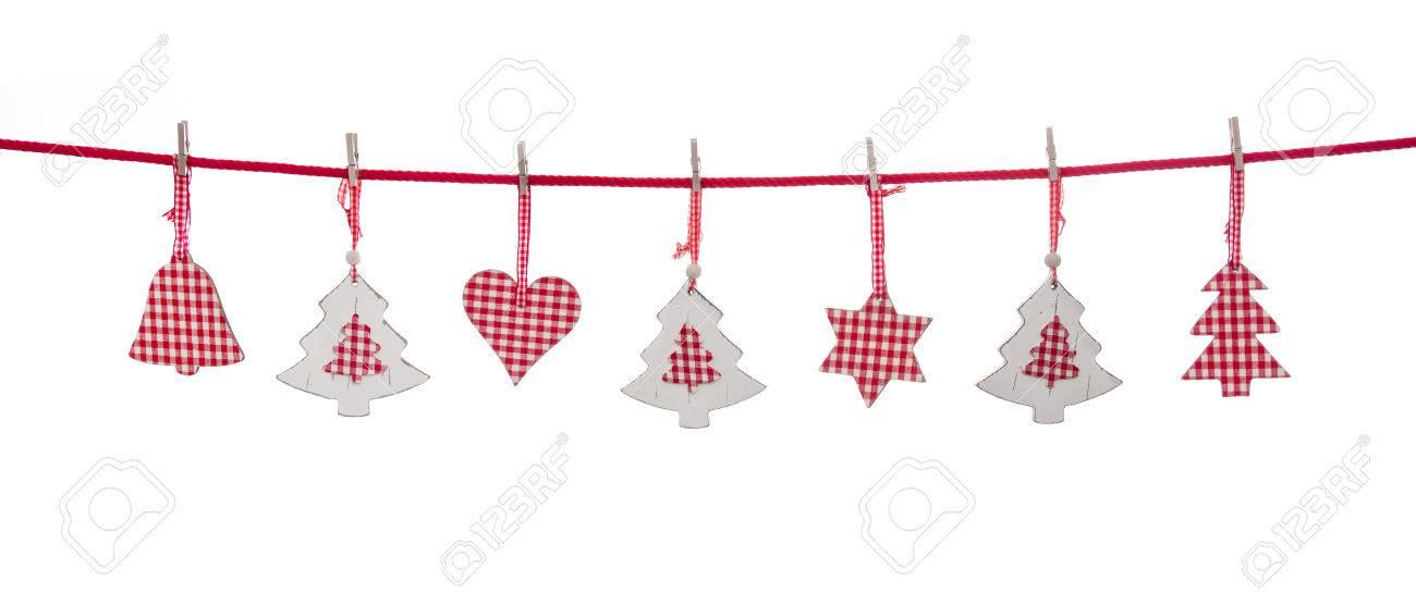 Aislados Decoración De Navidad De Color Rojo Y Blanco Que Cuelga En ...