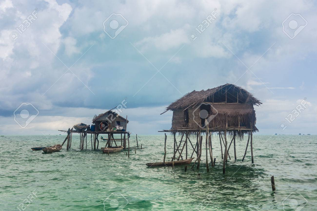 Wooden Houses Floating on the ocean Stock Photo - 22503767