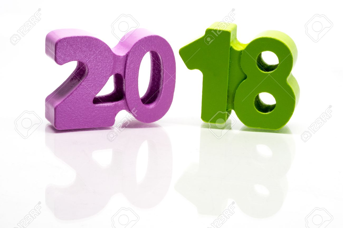 happy new year 2018 block of numbers on white background seamless with reflection stock