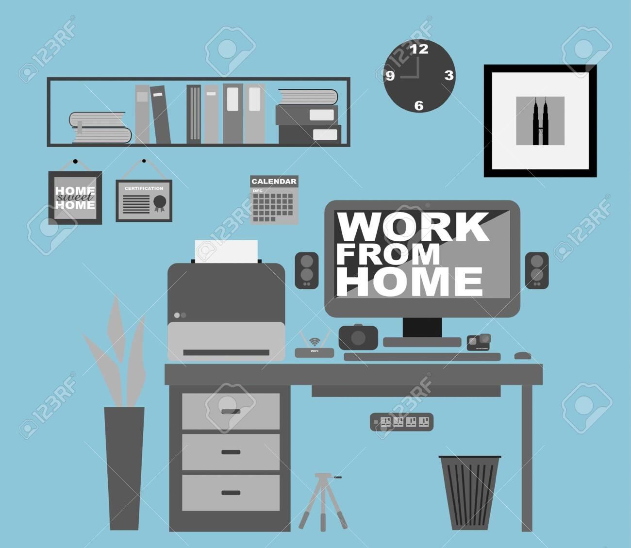 Work From Home Office Interior. Covid-19 Coronavirus Concept. Flat Vector - 144766974