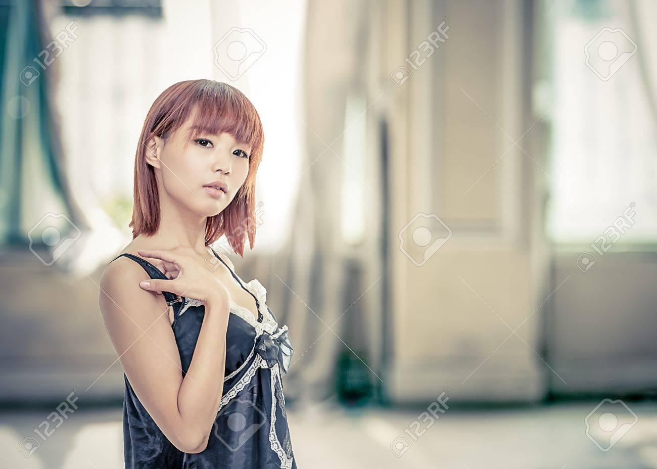 Taiwanese chinese female wearing lingerie Stock Photo - 26749830