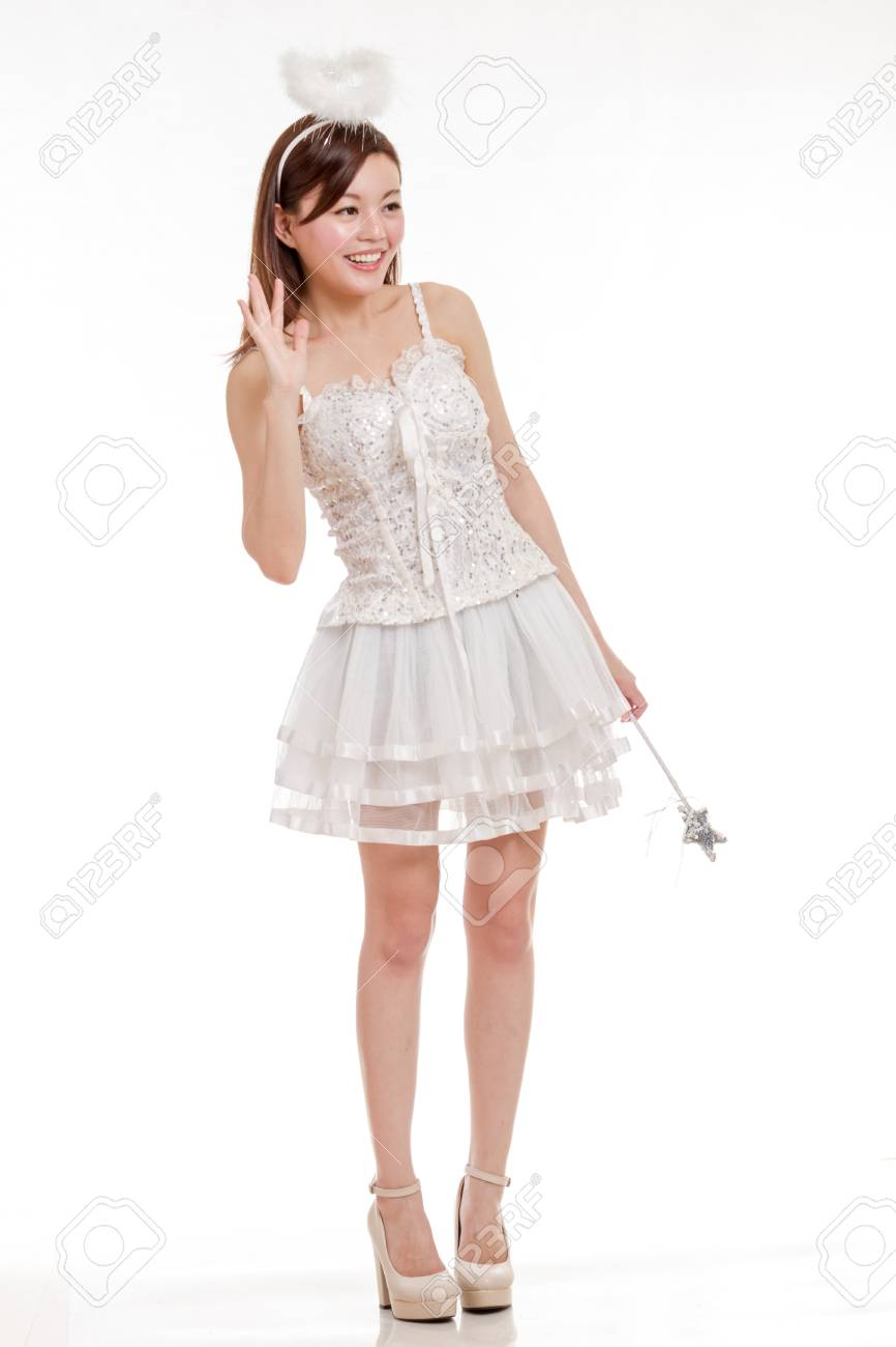 37c2d146c6f Malay woman in white angel fairy godmother costume