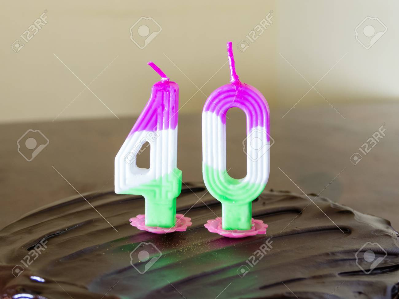 Chocolate Birthday Cake With Burning 40 Candle Stock Photo Picture