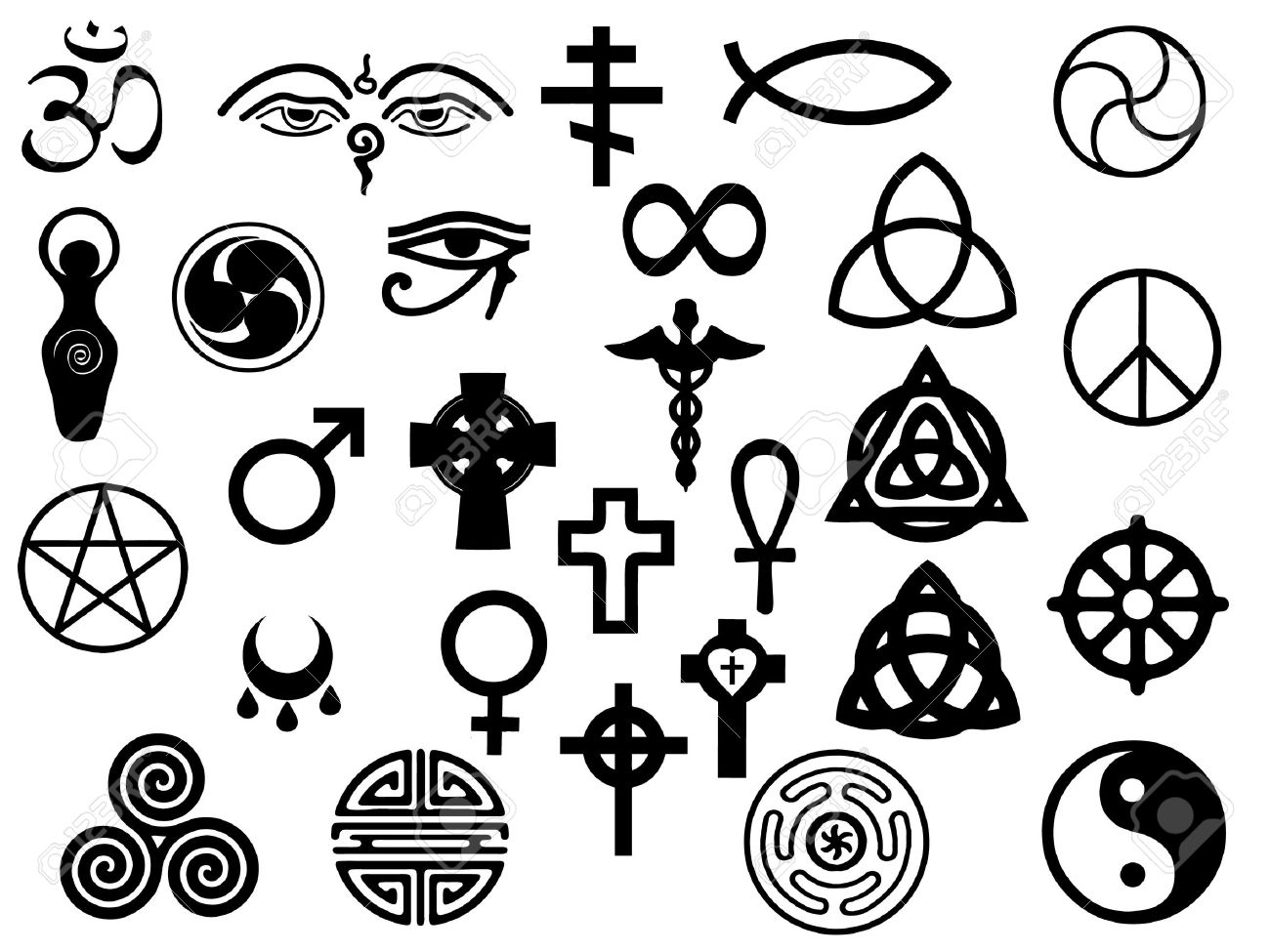 Vectors Of Sacred And Healing Symbols For Use In Artwork And