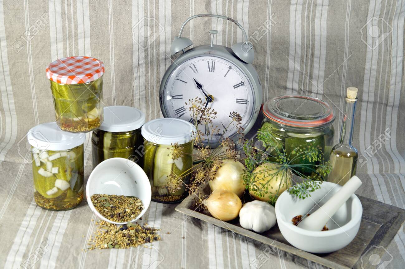 Time To Pickled Cucumbers Spices And Herbs In A Preservation