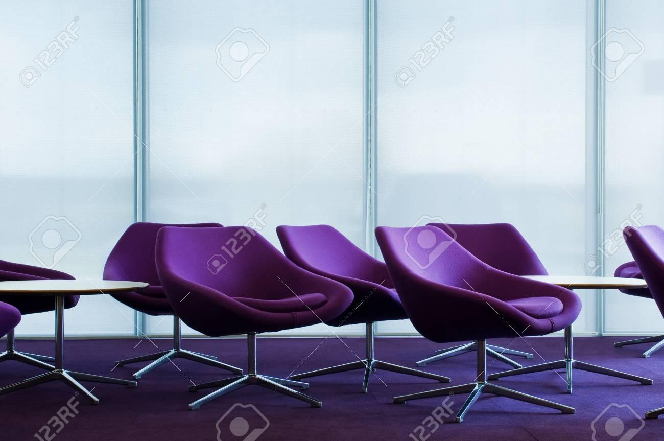 Purple Armchairs In Empty Office Block Stock Photo   81089001