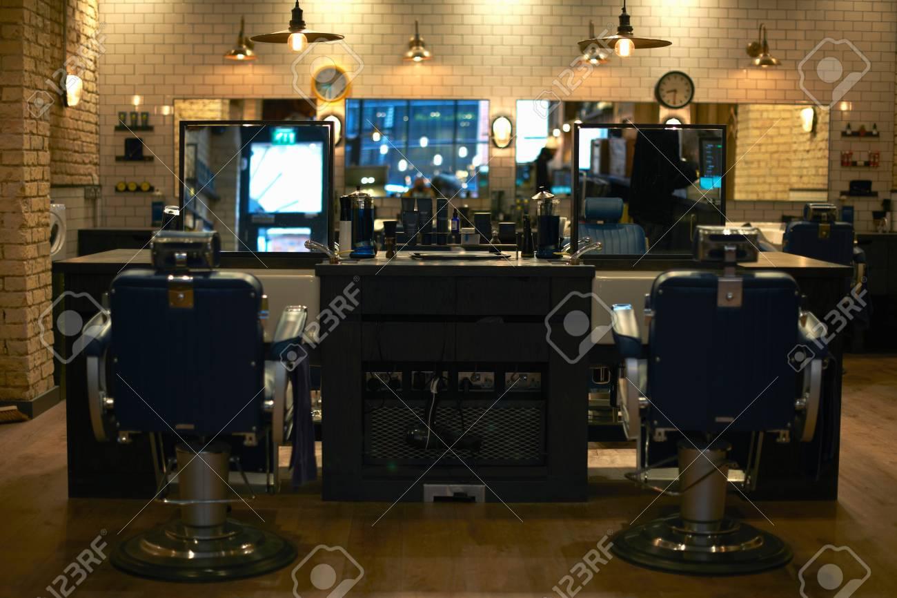 Retro Style Barber Shop Interior Stock Photo   82846564
