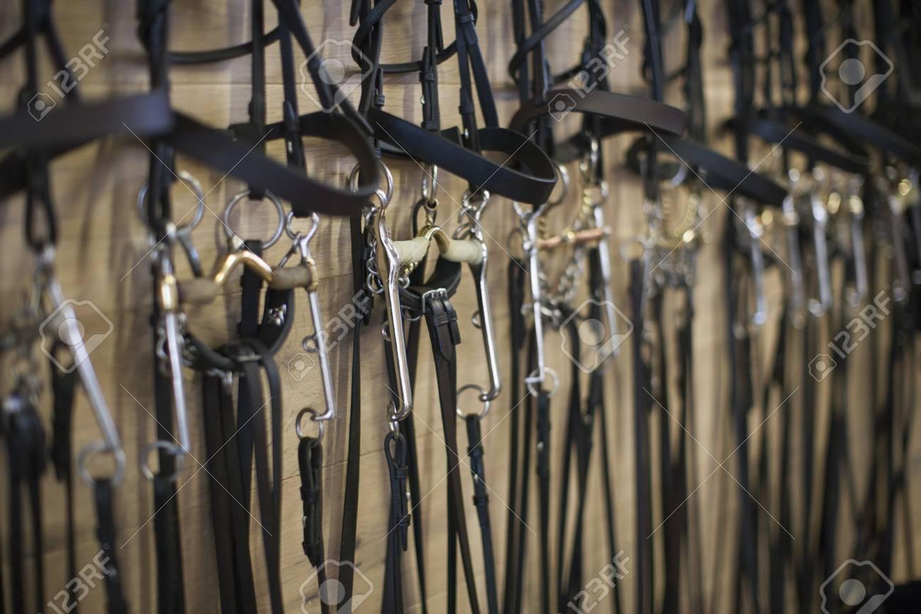 Reihe Von Zaumzeug In Stallungen Aufgehängt Lizenzfreie Fotos