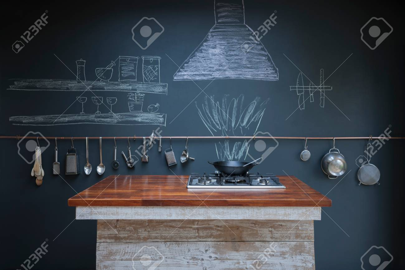 Kitchen With Chalkboard Wall Background Stock Photo, Picture And ...