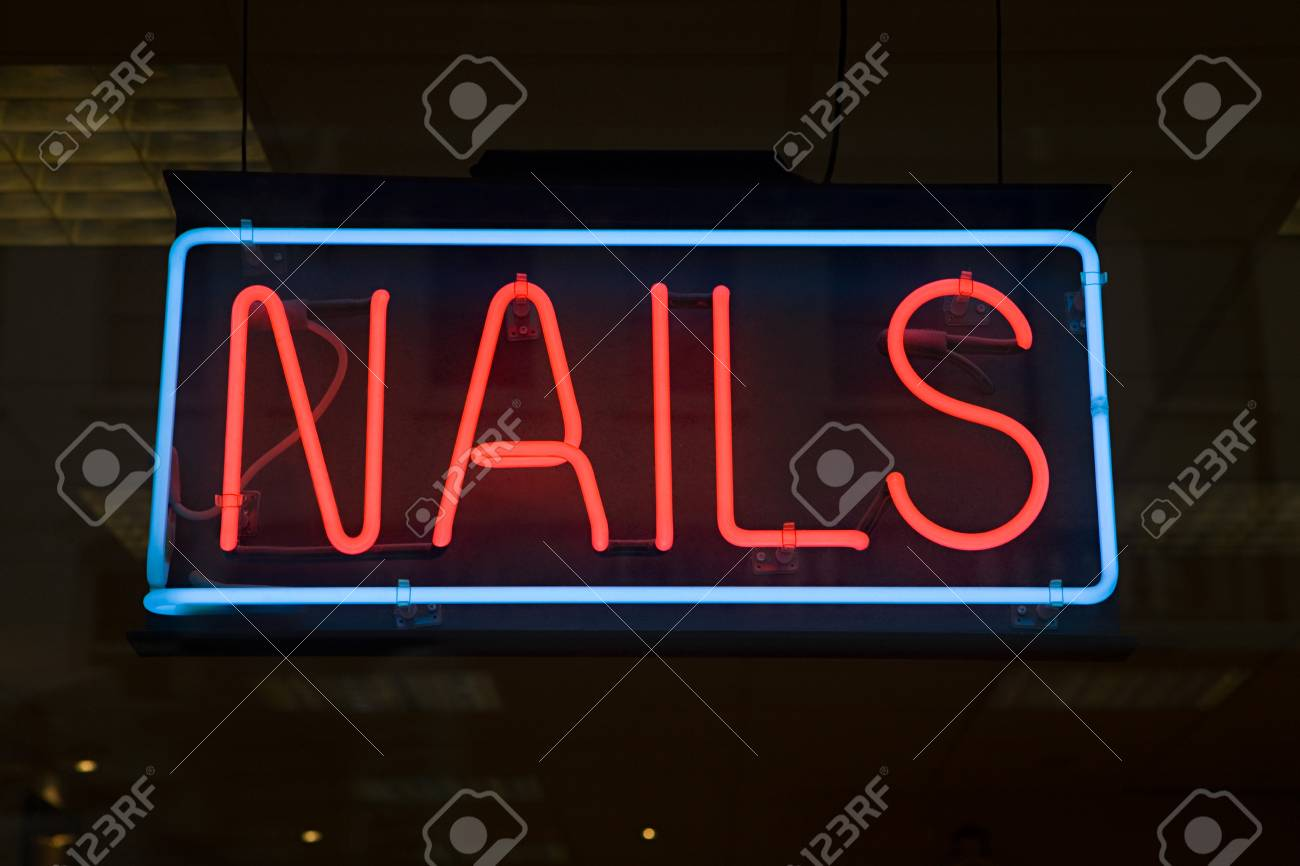Nail Bar Sign Stock Photo