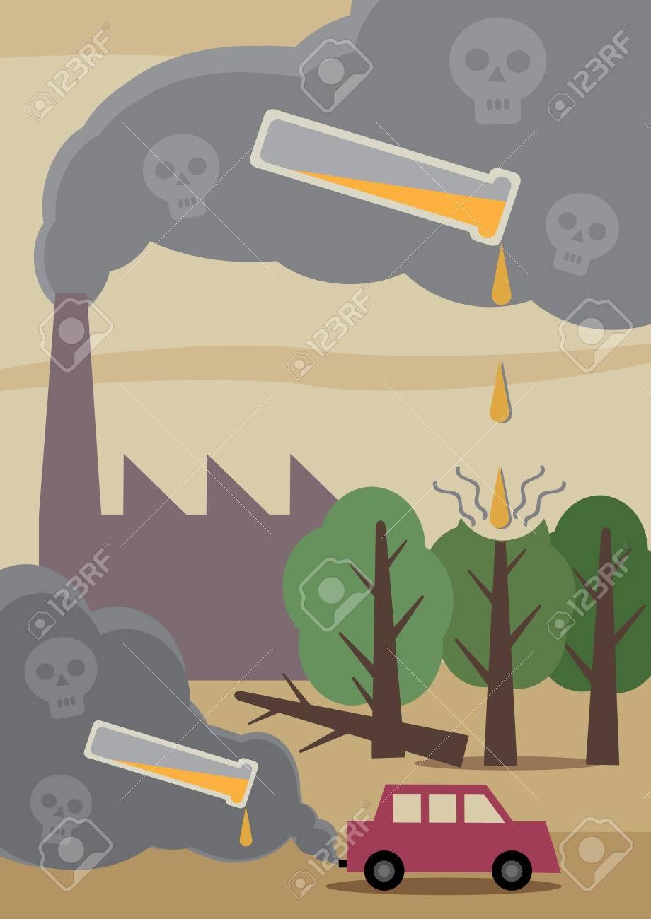 環境に有害大気汚染の影響を描いたイラストのイラスト素材ベクタ
