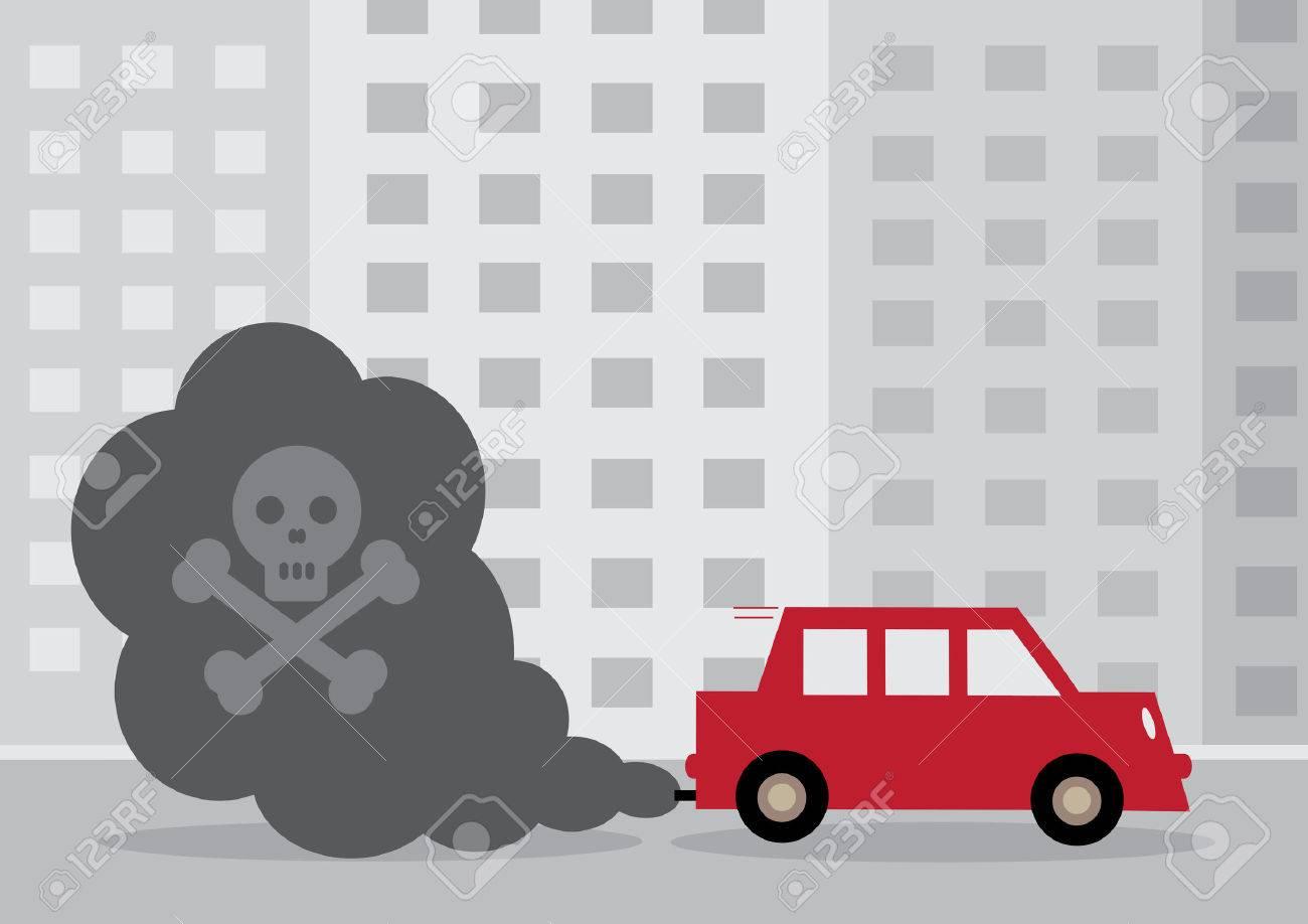 Ein Diesel-Pkw Giftige Abgase Enthält Ein Von Einem Schädel Und ...
