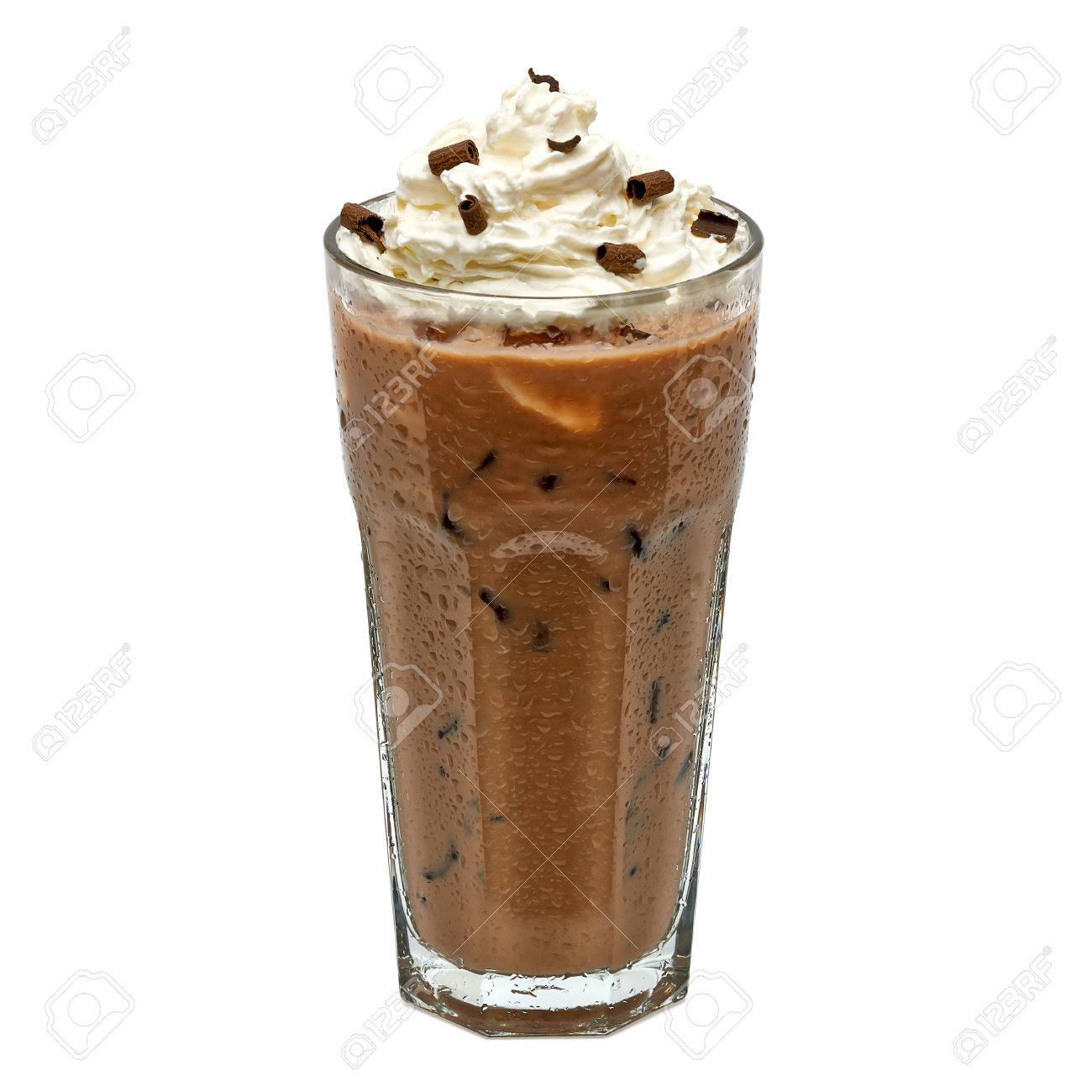Iced Coffee Mocha In Glass With Cream Isolated On White Background ...