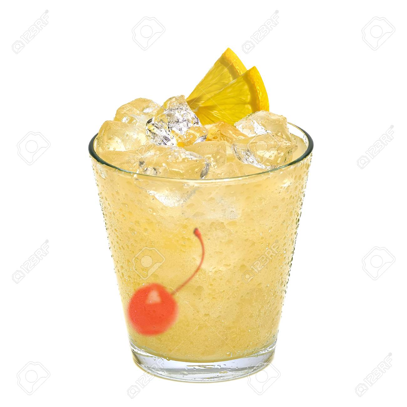 sour cocktail with maraschino cherry and lemon slice isolated on white background - 57799898