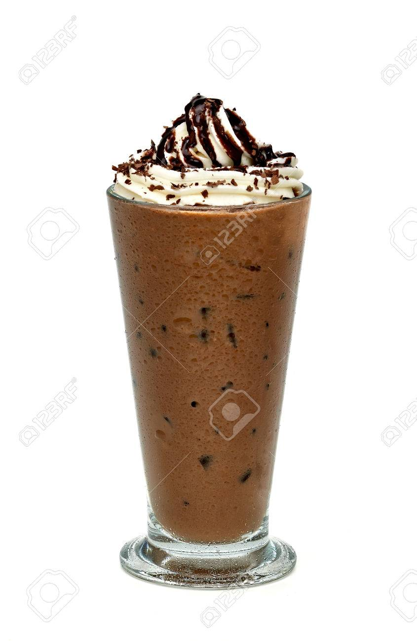 Iced Mocha In Tall Glass On White Background Stock Photo, Picture ...