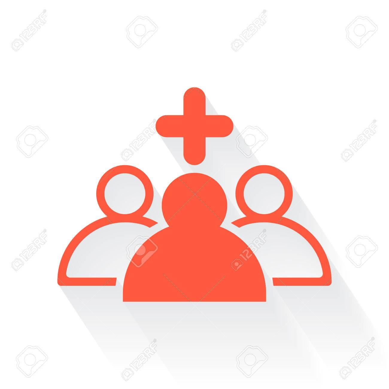 Orange Medical Staff Symbol With Drop Shadow On White Background