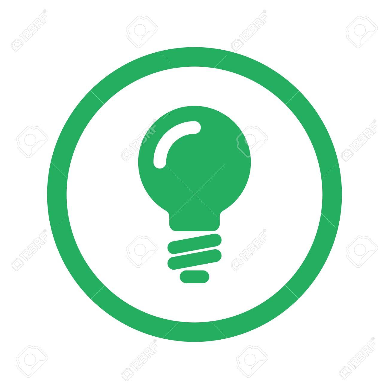 Flat Green Light Bulb Icon And Green Circle Royalty Free Cliparts