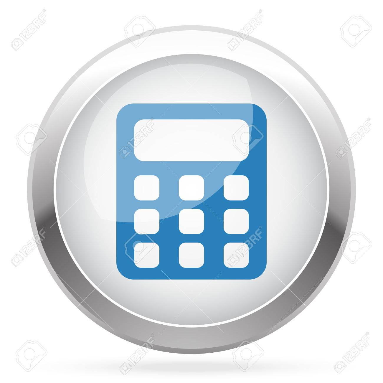 Blue Calculator icon on white glossy chrome app button