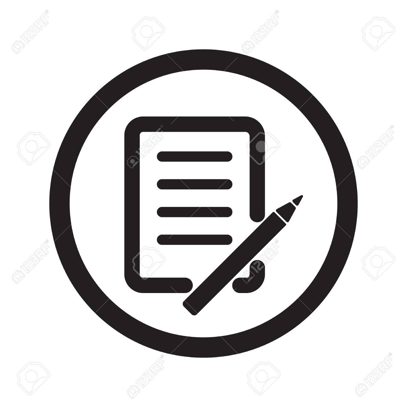 flat black pen and paper web icon in circle on white background