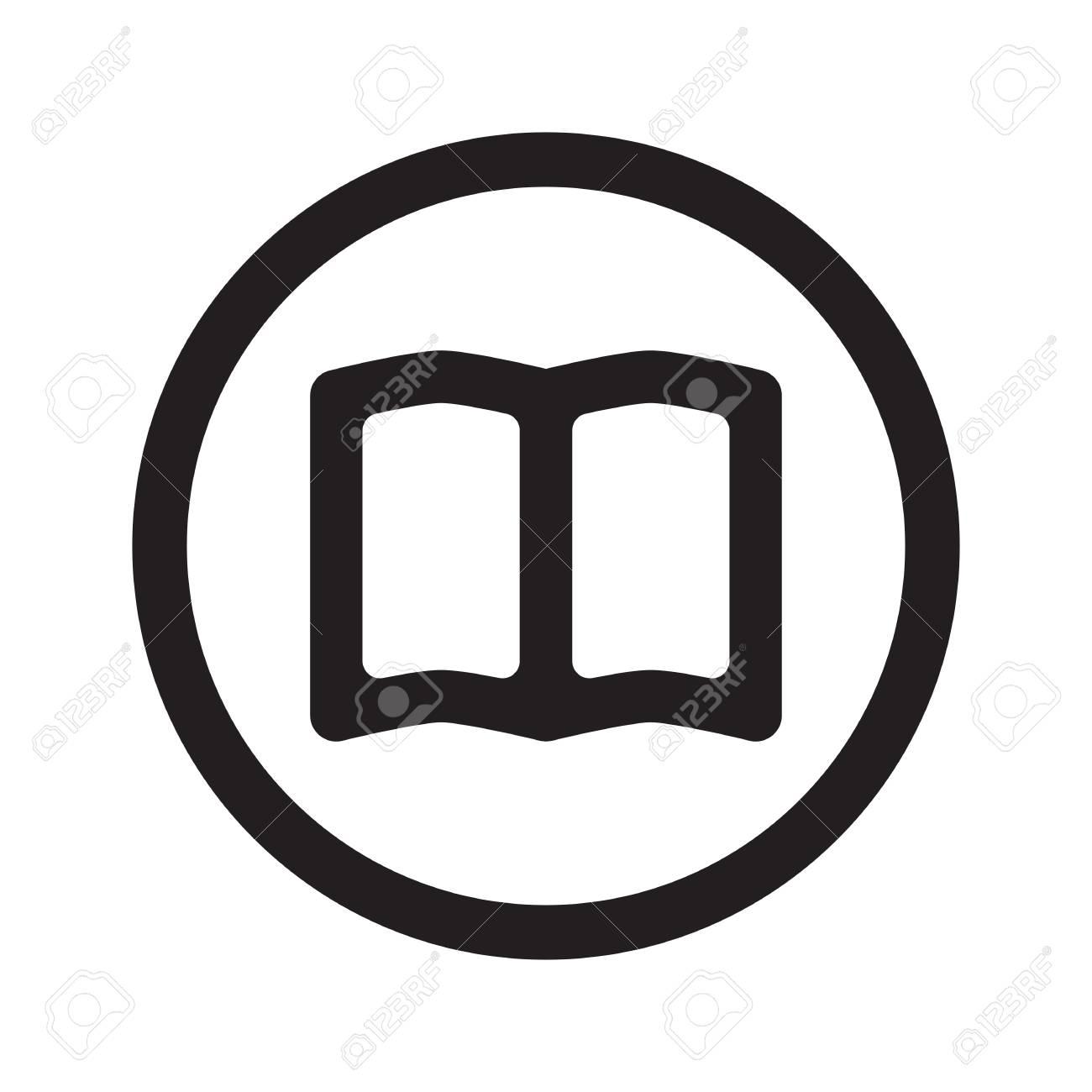 Icone De Livre Noir Plat Livre En Cercle Sur Fond Blanc