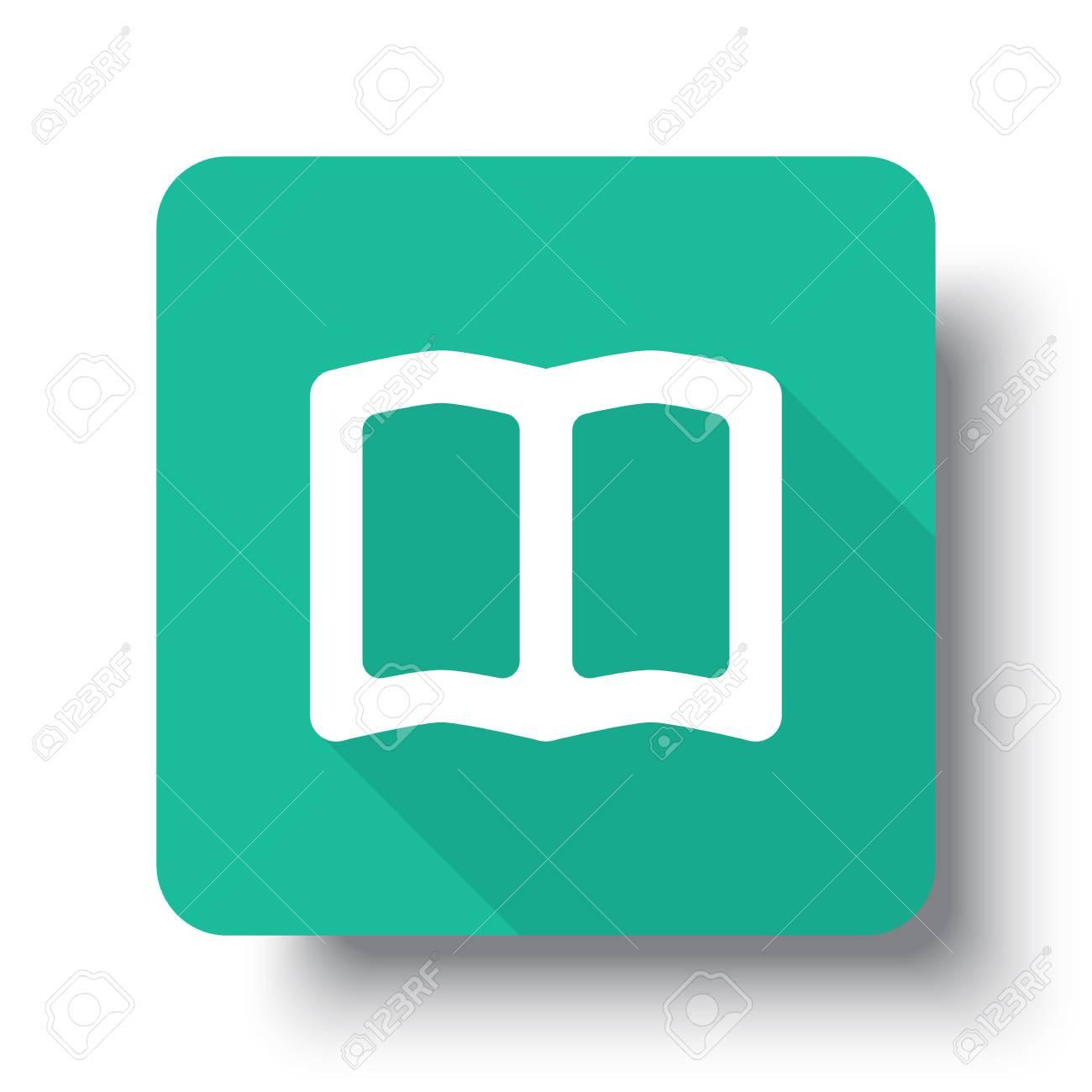 Icone De Livre Blanc Livre Plat Sur Le Bouton Vert Avec Ombre Portee