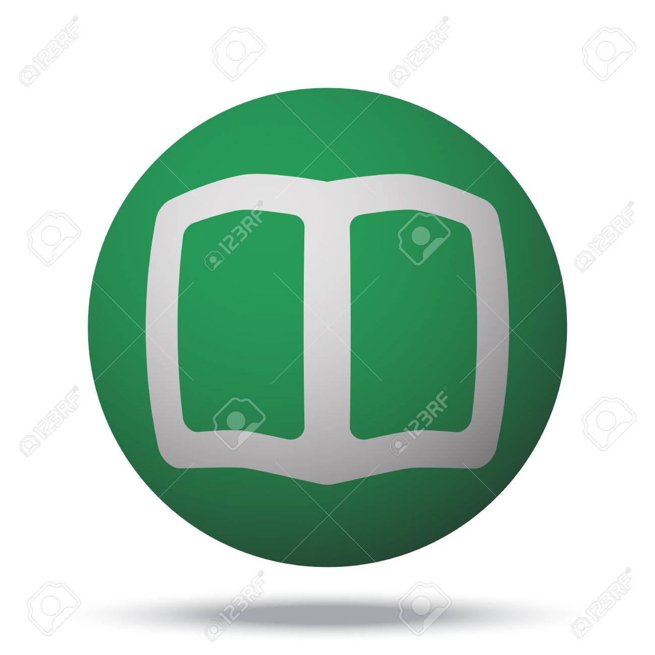 Livre Blanc Icone Web Sur Le Vert Sphere Balle