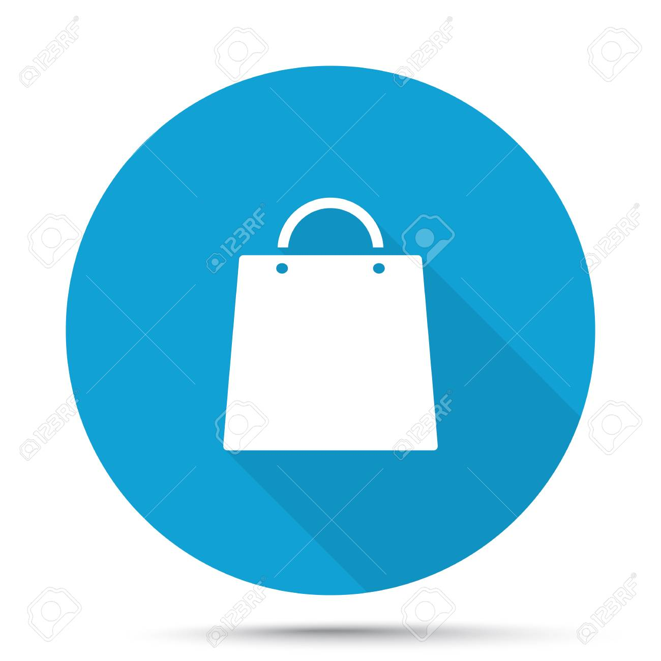 White Shopping Bag Icon On Blue Button Isolated On White Royalty