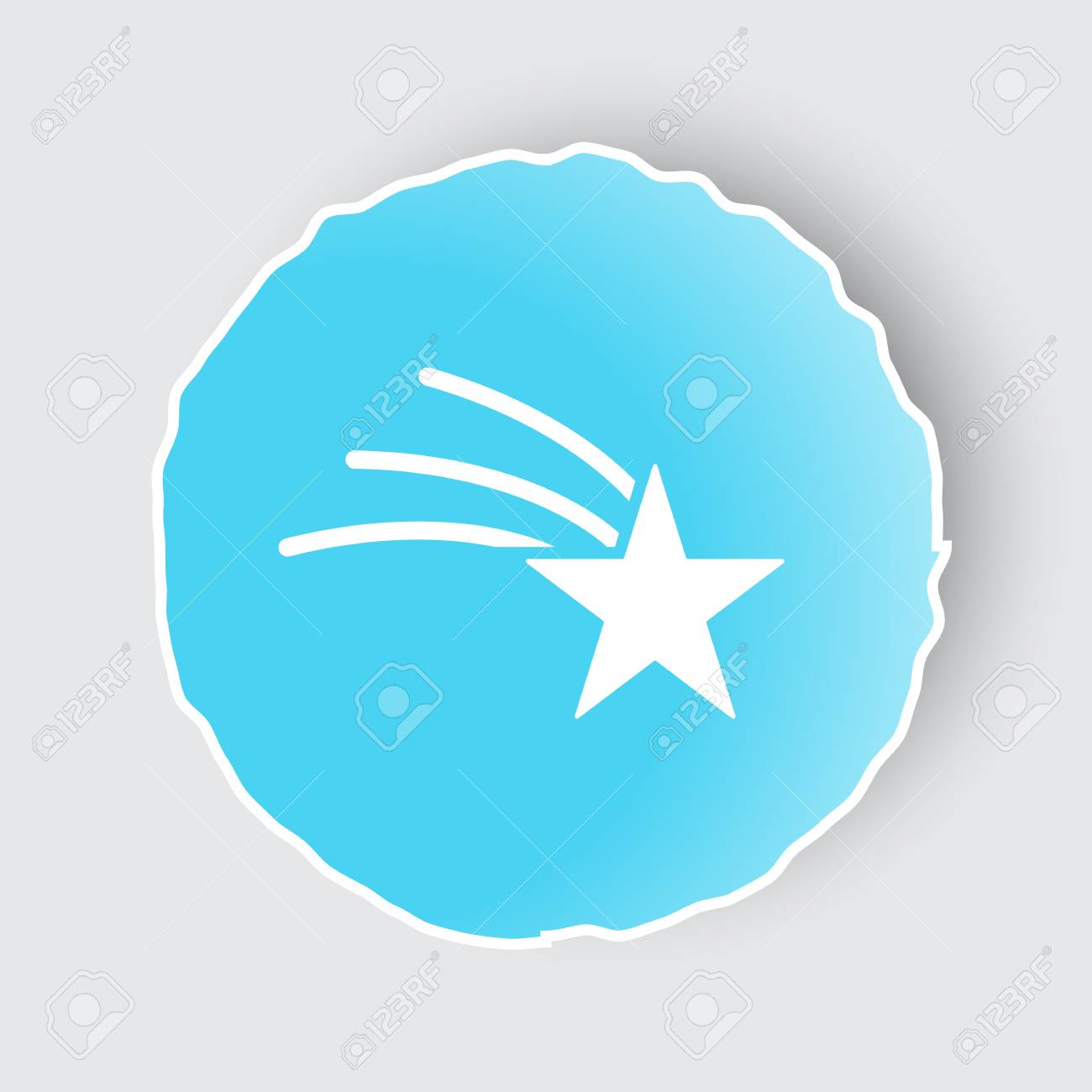 blue app button with shooting star icon on white royalty free