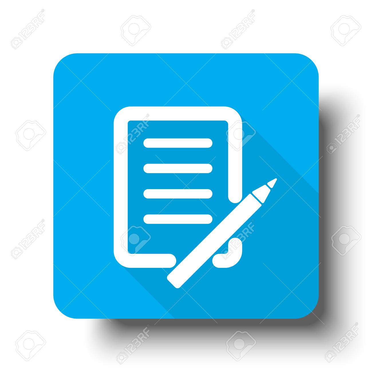 White Pen And Paper icon on blue web button