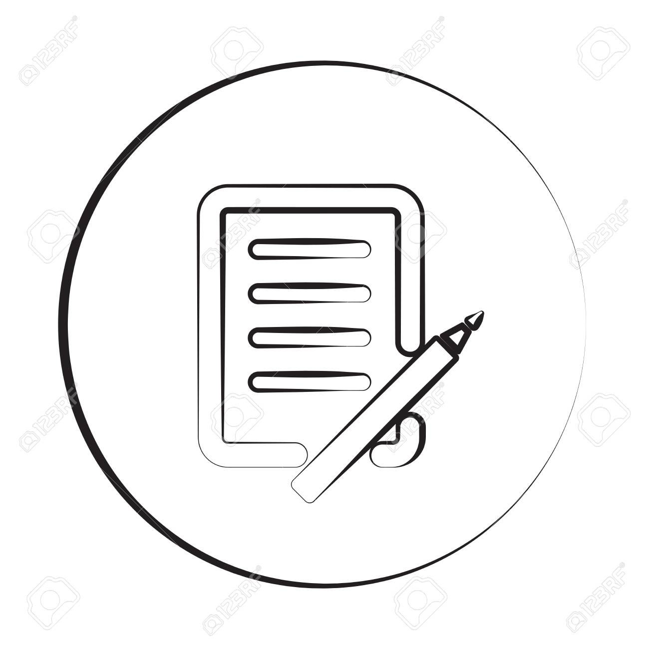black ink style pen and paper icon with circle royalty free cliparts