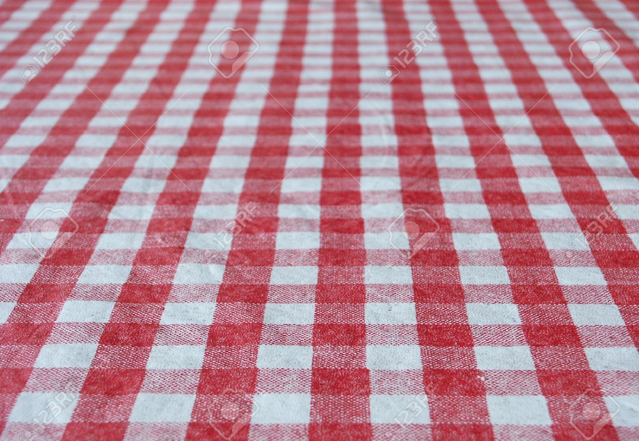 Picnic table background - White And Red Tablecloth For Background Stock Photo 6073373