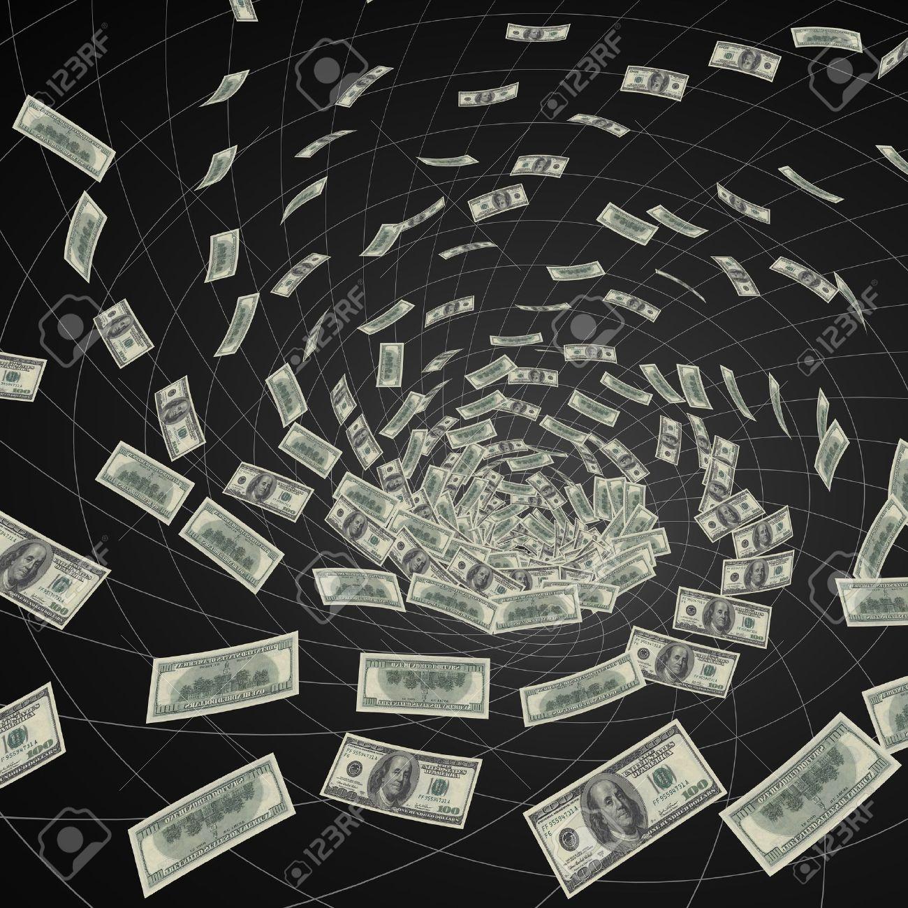 hundred dollar bills  vanishing into black hole Stock Photo - 6469611