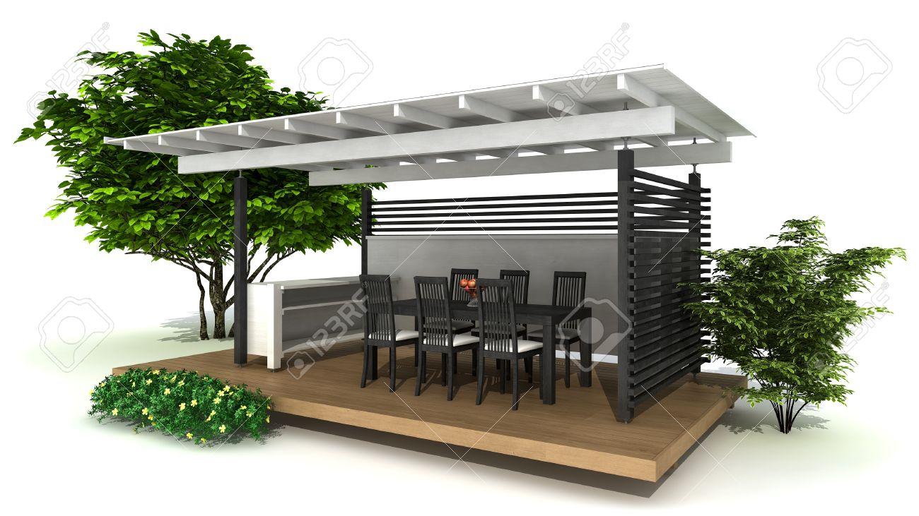 Prestación De Una Cocina Al Aire Libre Y Zona De Comedor, Aislado En ...