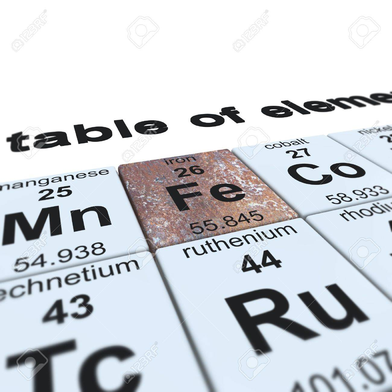 foto de archivo tabla peridica de los elementos se centr en el hierro - Tabla Periodica De Los Elementos Hierro