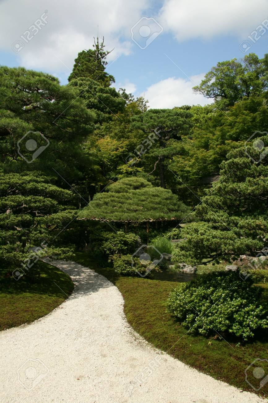 Zen Garten Imperial Palace Kyoto Japan Lizenzfreie Fotos Bilder