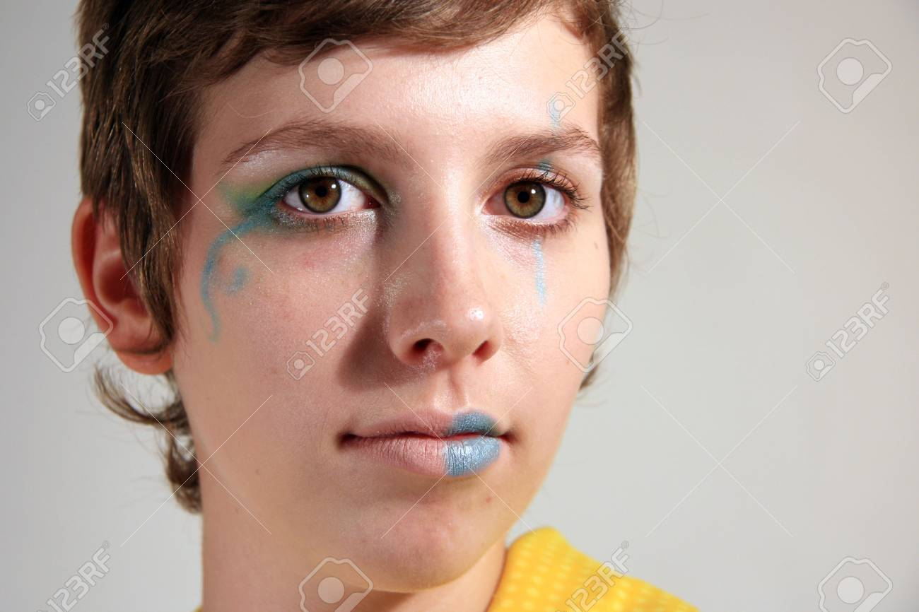 Clown Faced Cute Young Woman Stock Photo - 3623775