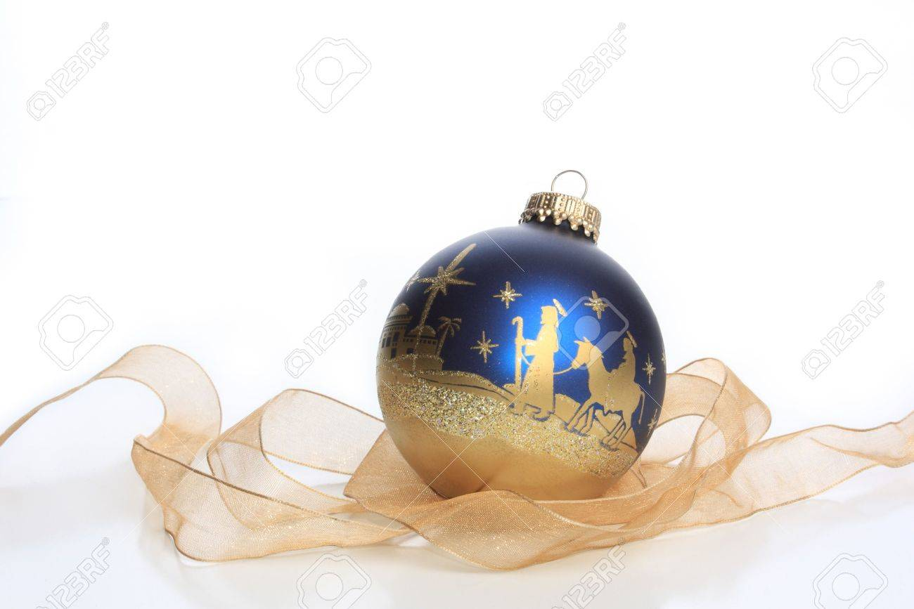 Glass Christmas Ornament With Nativity Stock Photo, Picture And ...