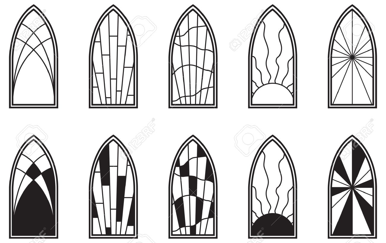 vector art depicting isolated stained glass window royalty free