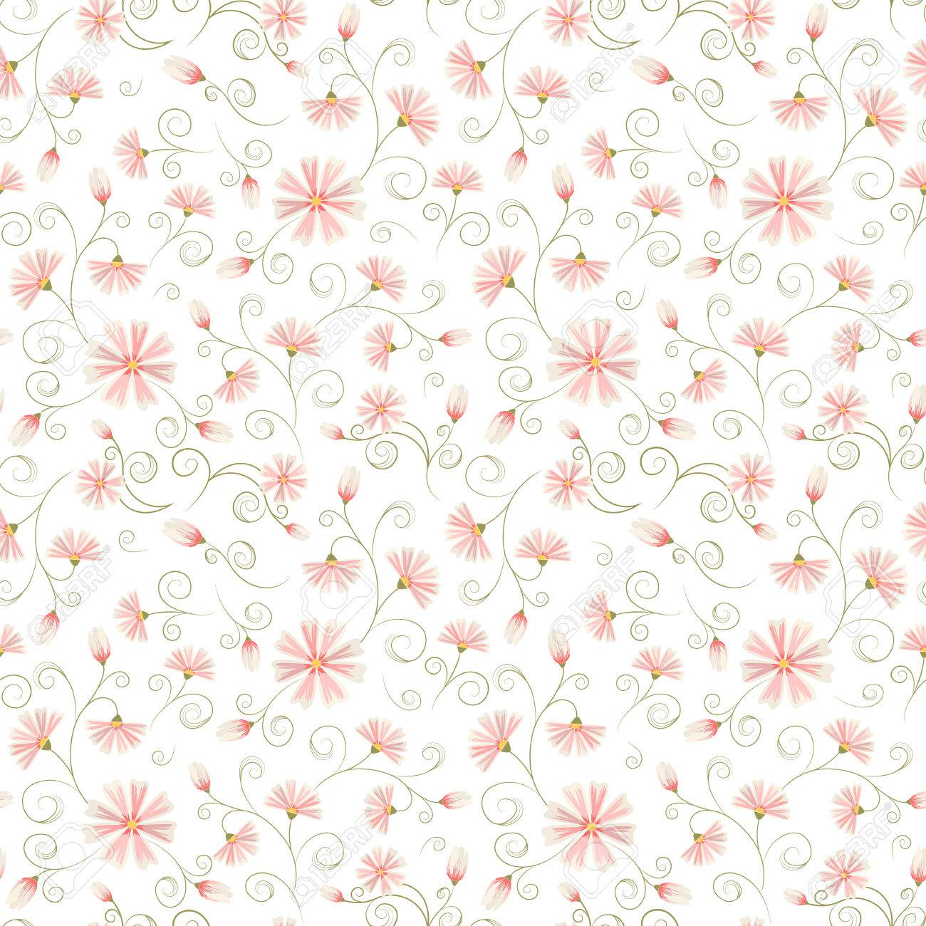 Seamless Daisy Flower Pattern On White Background Frizzy Ornate
