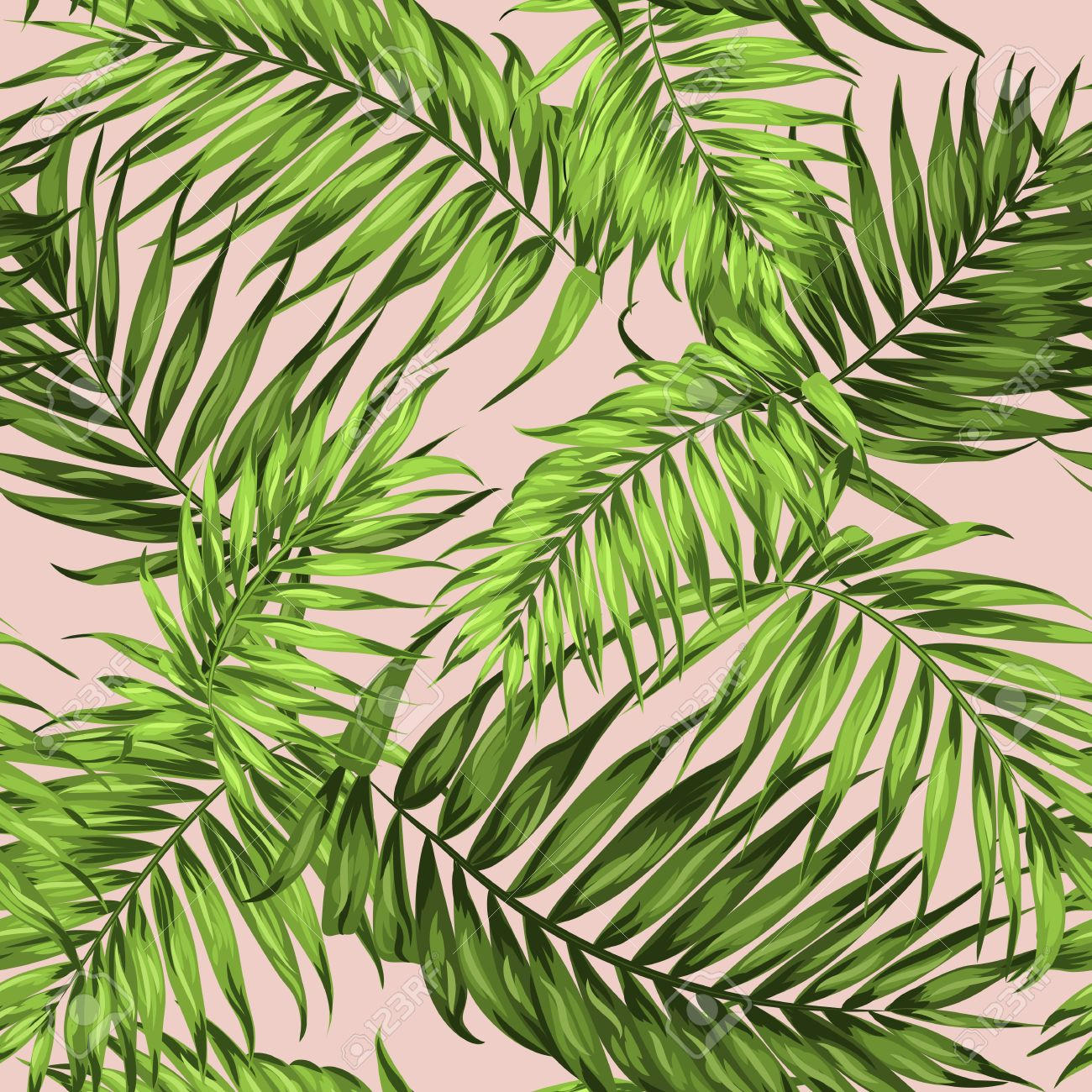Tropical Palm Leaves Seamless Pattern Bright Green On Pale Pink Stock Photo Picture And Royalty Free Image Image 64450379 Download free image of tropical leaf on pink background by jira about palm tree, palm, flat lay, palm leaf and plant 400757. tropical palm leaves seamless pattern bright green on pale pink