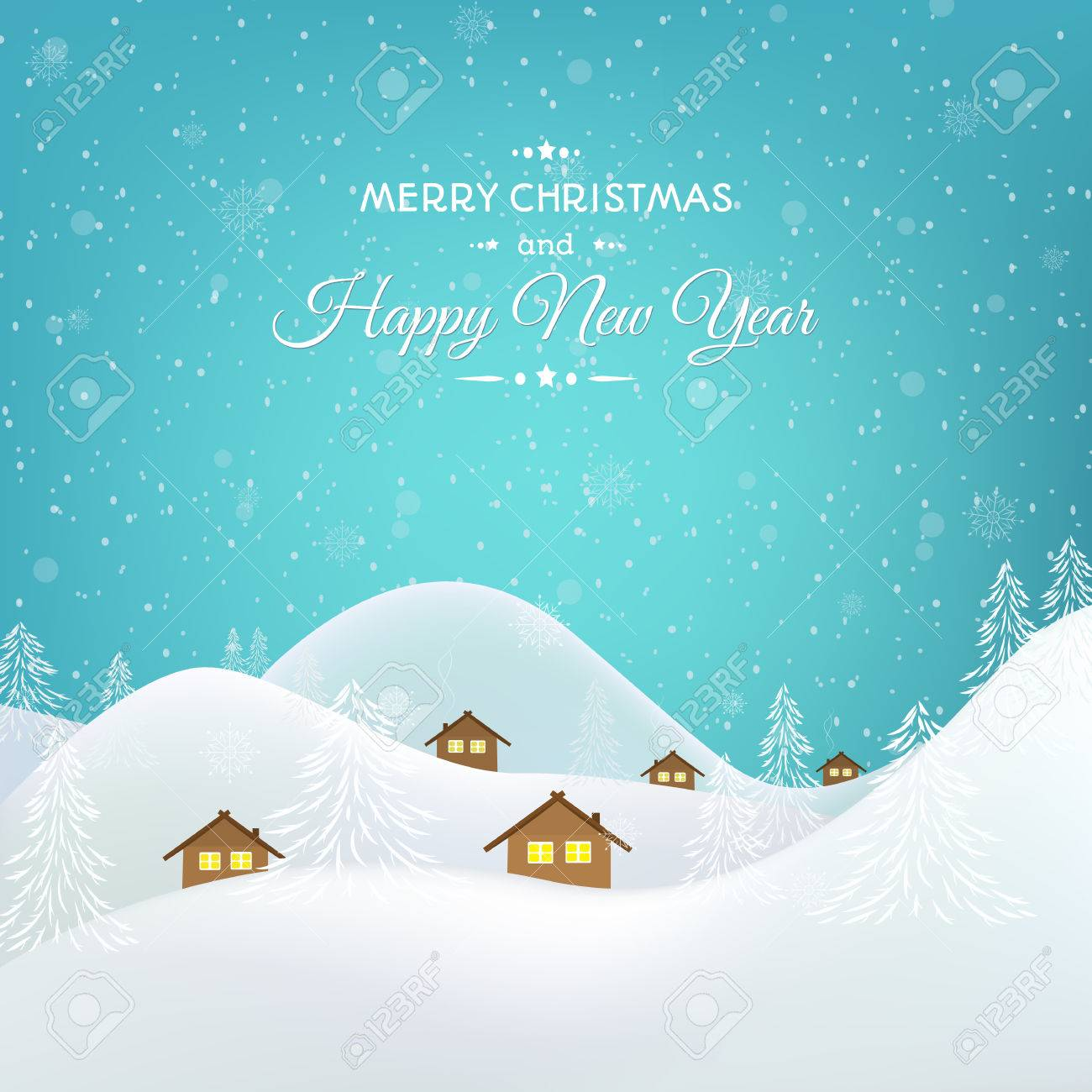 New year christmas greeting card template winter snow village new year christmas greeting card template winter snow village mountains forest valley scenic landscape m4hsunfo