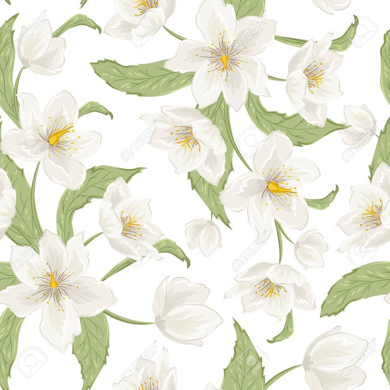 Blooming Hellebore Flowers Foliage Floral Seamless Pattern