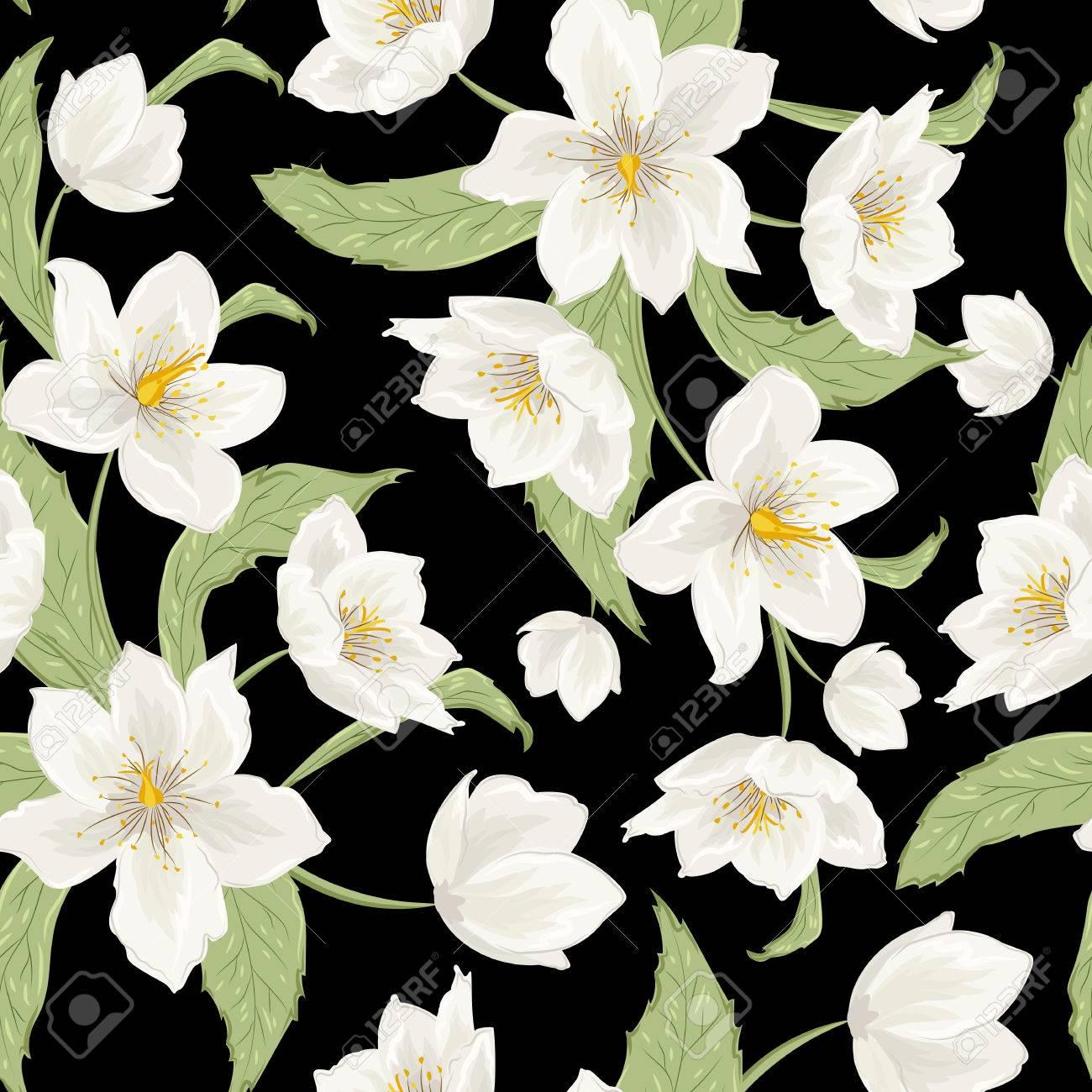 Christmas Rose Hellebore Flowers Seamless Pattern On Black