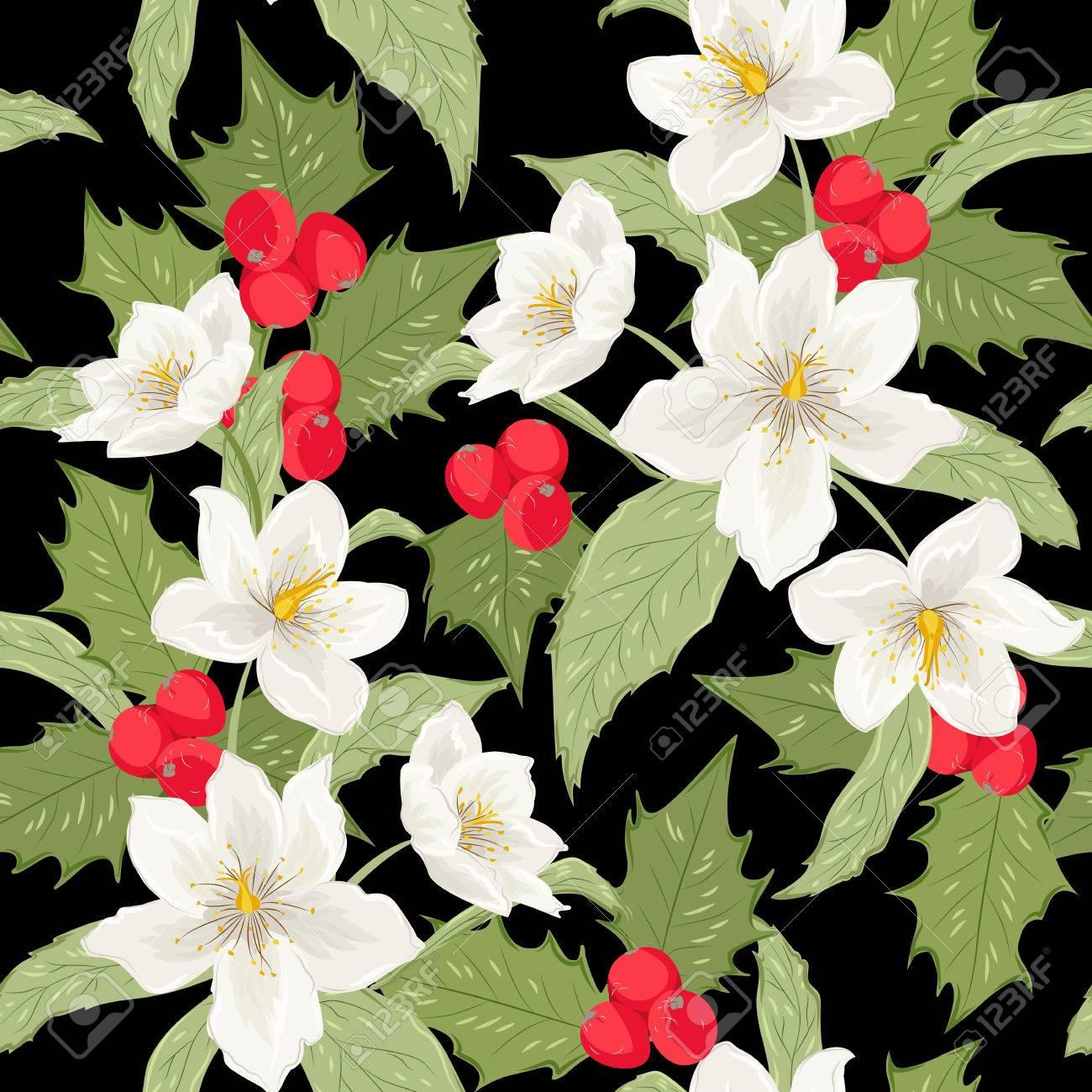 Weihnachten Winter Rosenblüten Blätter Holly Berry Nahtlose Muster ...