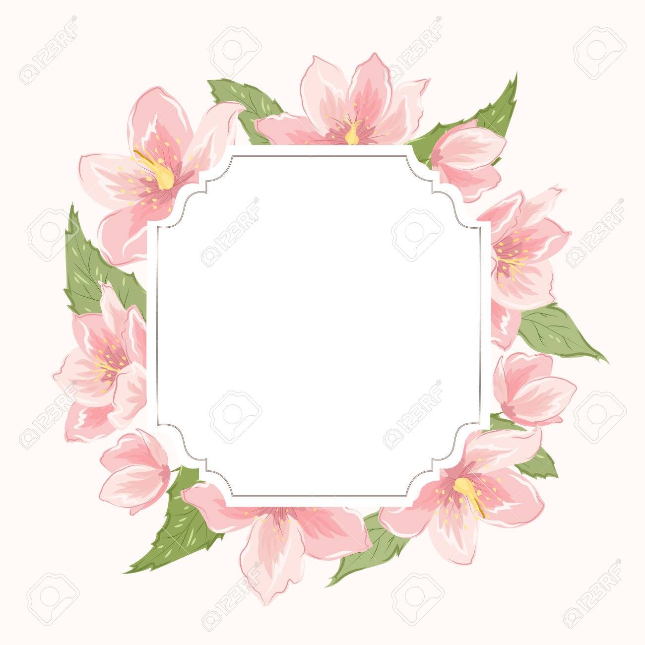Blumenkranz Kranz-Grenze Rahmen. Sakura Magnolie Nieswurz Rosa ...