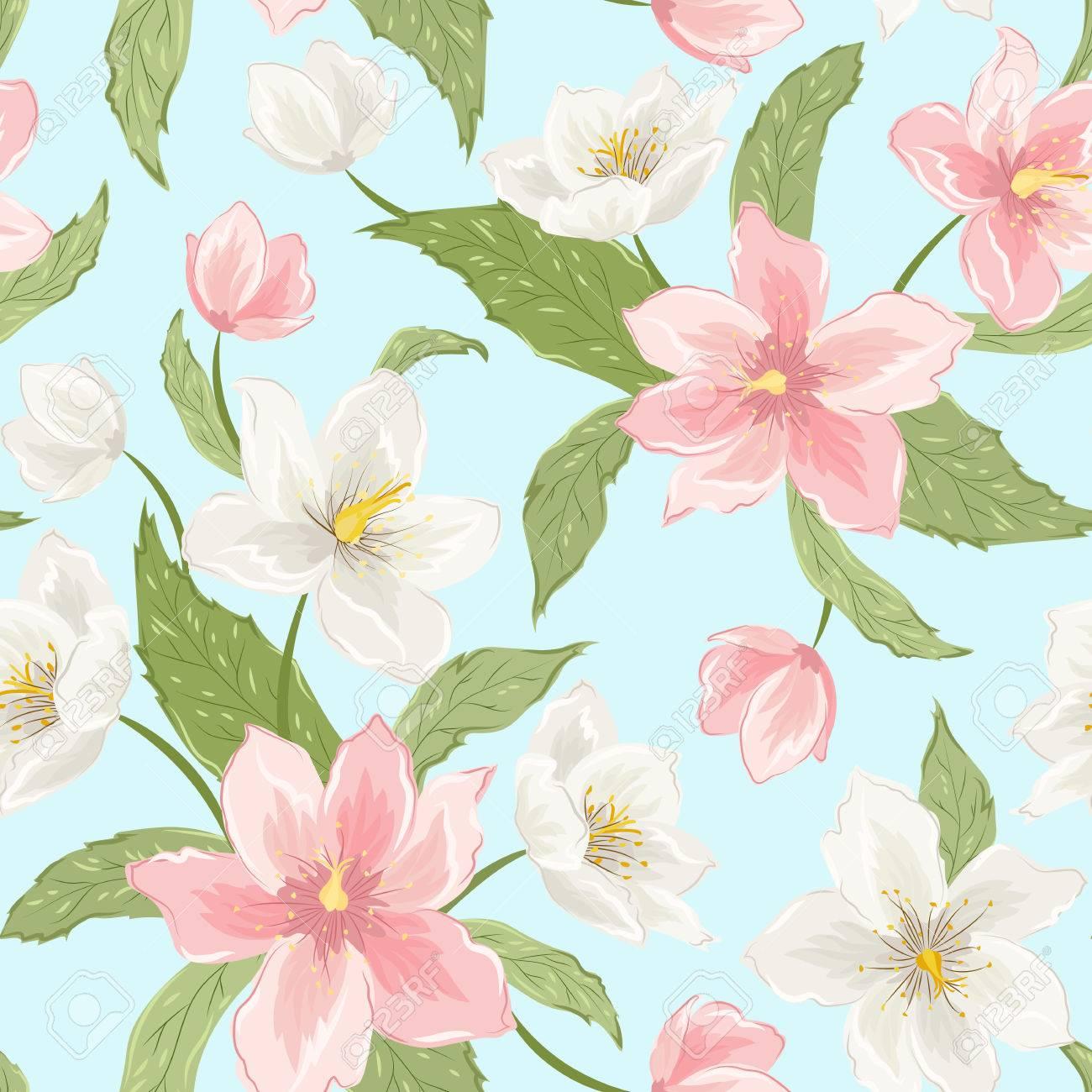 Magnolia Sakura Hellebore Fleurs Seamless Pattern Hiver Rose De