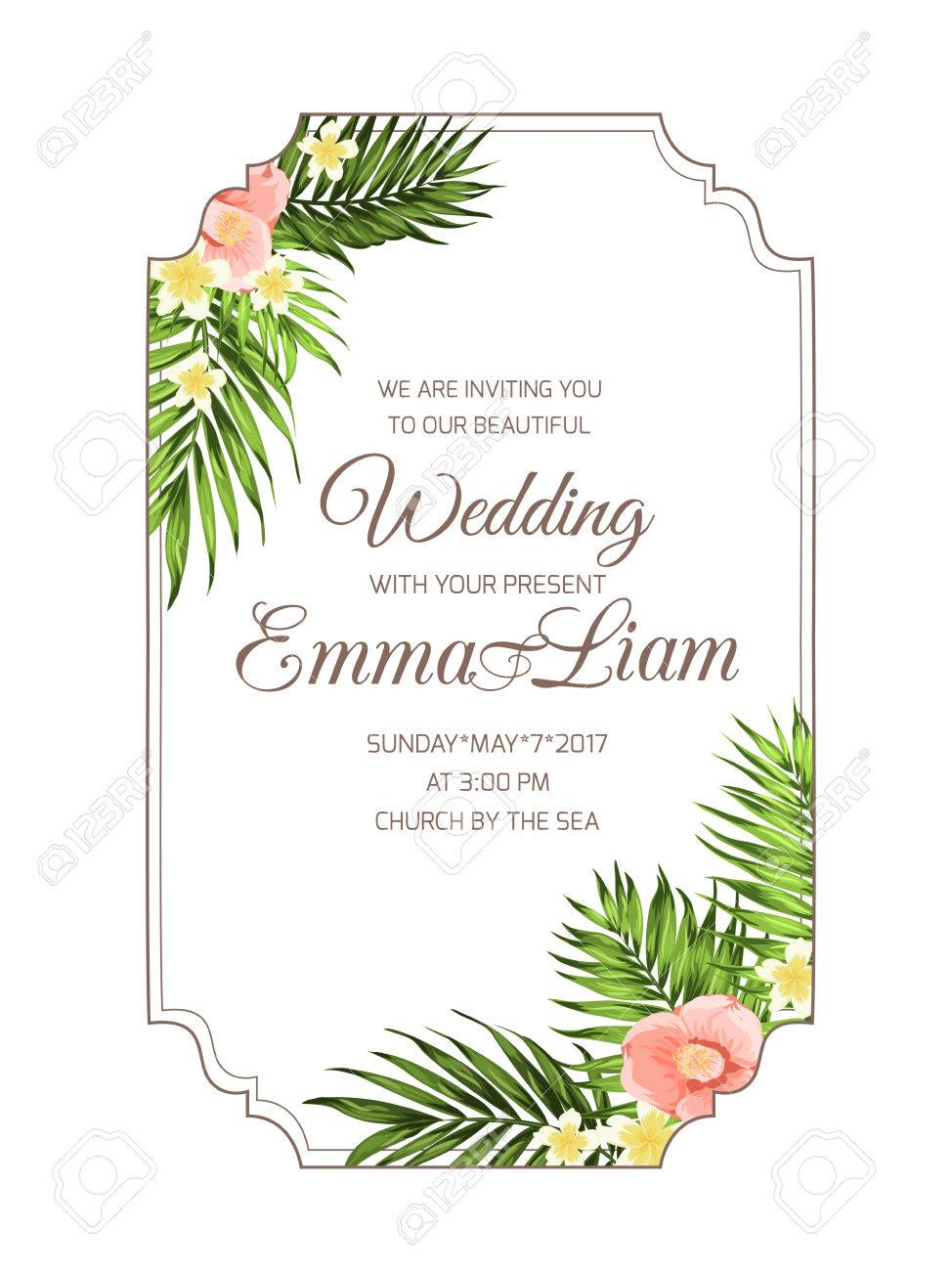 Exotic Tropical Wedding Marriage Invitation Card Template With