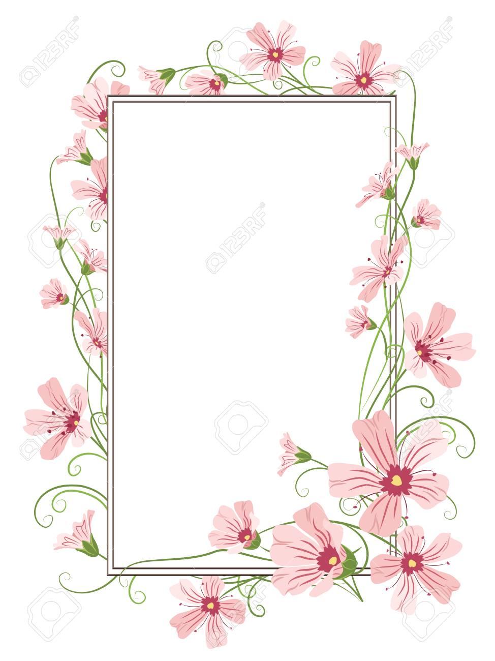 カスミソウ ピンク紫花もつれたガーランド要素四角形の花枠フレーム