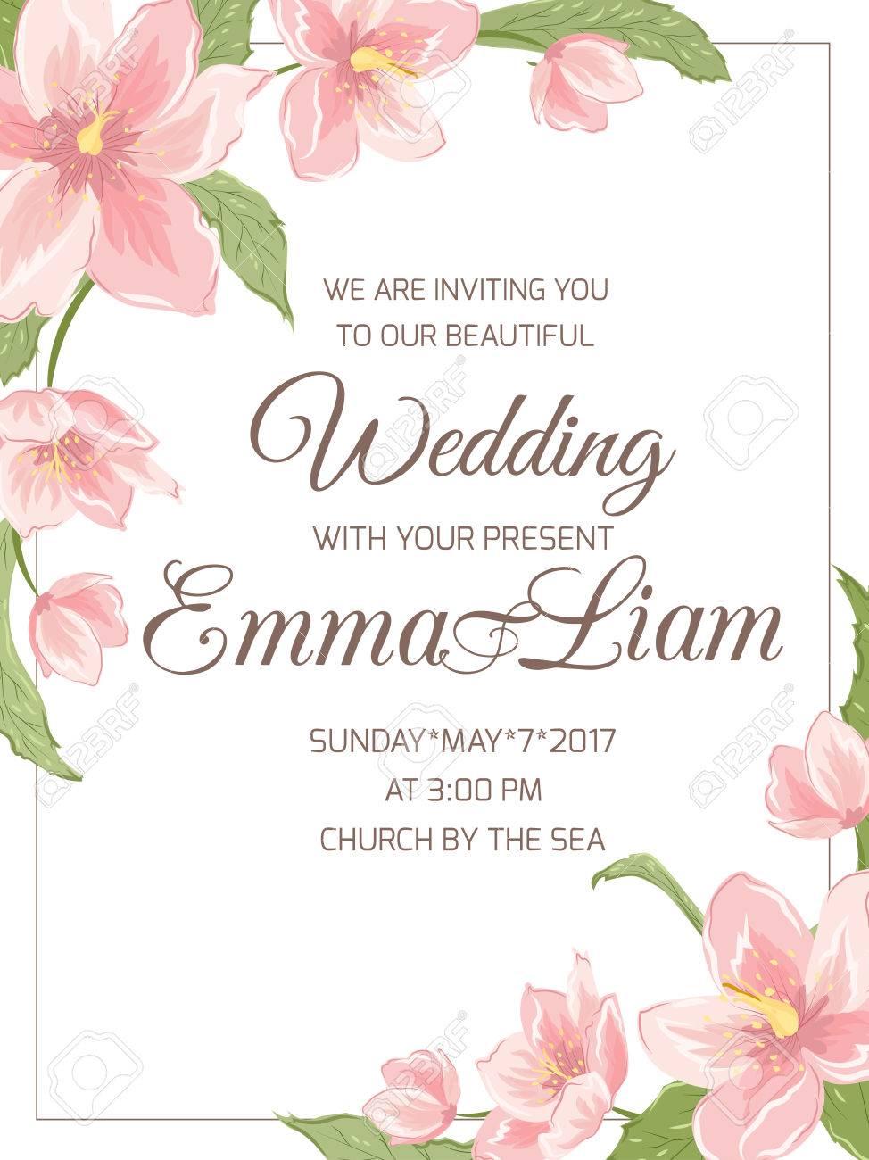 wedding marriage invitation card template rsvp magnolia sakura